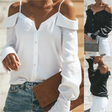 Women's Cold Off Shoulder Tops Shirt Long Sleeve Strappy Summer Blouse T-shirt