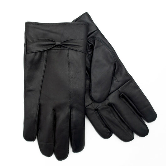 Ladies Soft Leather Fleece Lined Winter Gloves with Bow