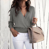 New Womens V Neck Long Sleeve Sweater Ladies Ribbed Jumper Pullover Tops Blouse