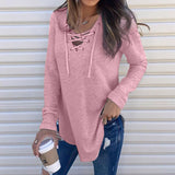 UK Womens V Neck Lace Up Long Sleeve Sweater Ladies Jumper Pullover Tops Blouse