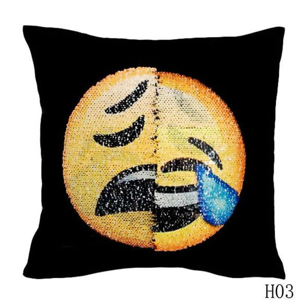 Sequin Smiley Face Pillow