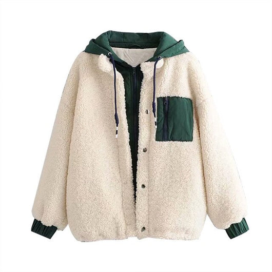 Fashion Winter Warm Hooded Teddy Coat Women Patchwork Long Sleeve Pocket Jacket Female Loose Casual Plush Faux Fur Coat