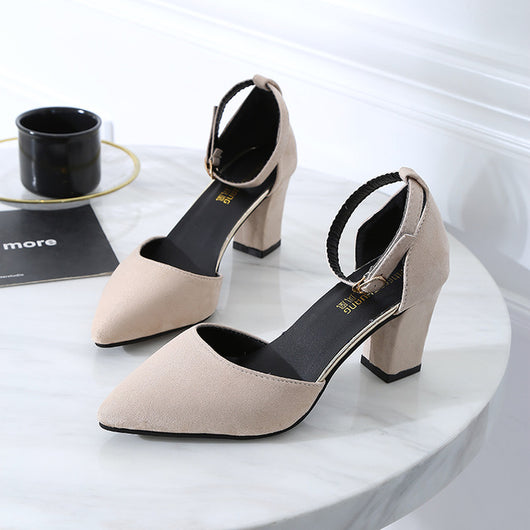 Korean version wild thick with pointed single shoes fashion comfortable high heels trend sexy high heels  wedding shoes mujer