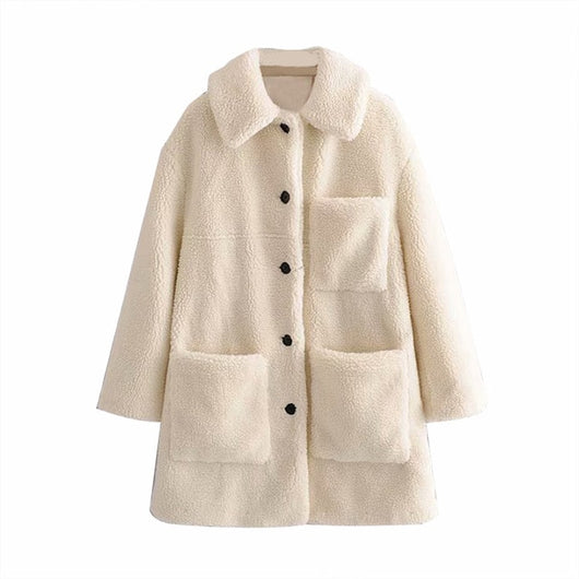 Fashion Solid Teddy Coat Women Winter Pockets Fleece Casual Mid Length Coat Jackets Long Sleeve Lamb Fur Jacket Manteau Femme