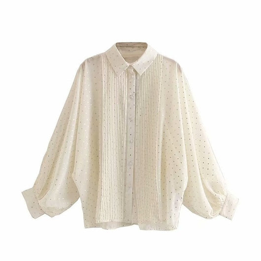 Elegant Casual Loose Dot Print Blouse Women Lantern Long Sleeve Fashion Pleated Shirt Turn Down Collar Stylish See Through Top
