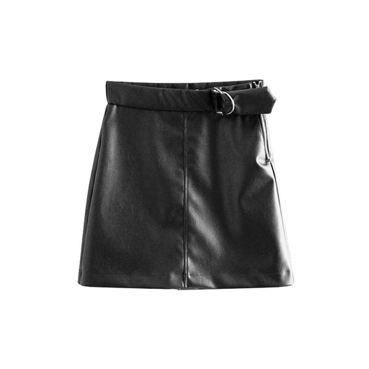 PU Leather Women Mini Skirt Elegant Solid Elastic High Waist Zipper Skirts Sexy Ladies Back Split Female Faux Leather Skirt