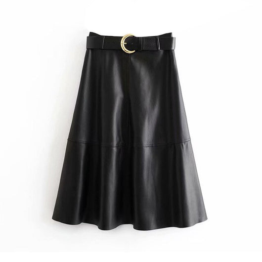 Women Chic PU Faux Leather Skirt With Belt Elegant A line Black Midi Skirt Female Side Zipper Stylish Skirts Faldas Mujer