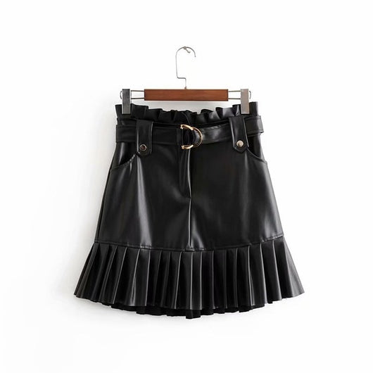 Women Chic PU Leather Pleated Skirt 2019 Ruffles Tie Belt Waist Pocket Skirt Zipper Fly Ladies Elegnt Mini Skirts Jupe Femme