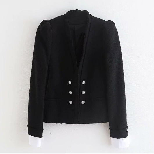 Fashion Patchwork Coat Women V Neck Puff Long Sleeve Slim Jacket Double Breasted Elegant Female Coats Autumn Chaqueta Mujer