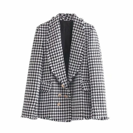 Fashion Houndstooth Blazer Women Elegant Tweed Coat Casual Double Breasted Suit Jacket Long Sleeve Blazer Female Chaqueta Mujer