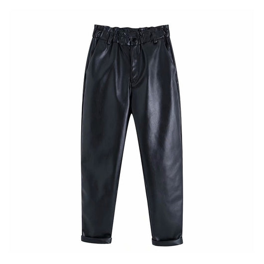 Black Pu Leather Women Pants Elastic High Waist Chi Paperbag Pants Fashion Solid Faux Leather Trousers Pockets Bottoms