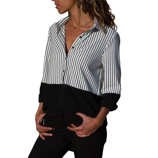 Women Blouses 2019 Striped Blouse Womens Tops And Blouses Long Sleeve Turn Down Collar Office Blouse Shirt Blusas Tunique Femme