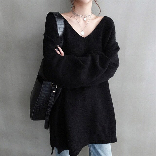 V Neck Loose Sweater Women Knitted Cashmere Pullover Autumn Winter 2019 Casusal Solid Color Long Jumper Tops Sueter Mujer