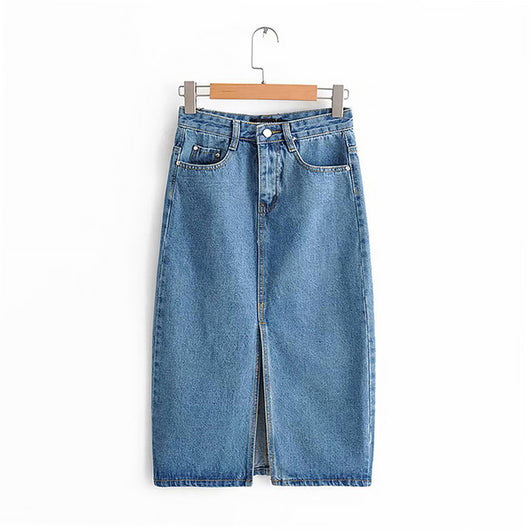 Sexy Denim Skirts For Women 2019 Fashion Split Mid Calf Length Skirts Vintage Pocket Blue Saia Ladies High Waist Midi Skirt