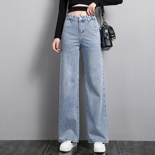 Casual Denim Blue Jeans Women High Waist Straight Plus Size Cowboy Ladies Pants Button Long Length Fashion Jeans Boyfriends