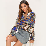 Blouse Women Long Sleeve Leisure Shirt 2019 Vintage Chain Print Casual Blouses Turn Down Collar Ladies Office Tops Plus Size XXL