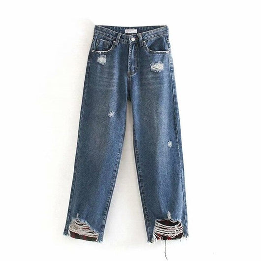 Fashion Women Holes Mom Jeans Pants Long Length Loose Trousers Wide Leg Streetwear Buttoms Baggy Denim Jeans Jeansy Damskie