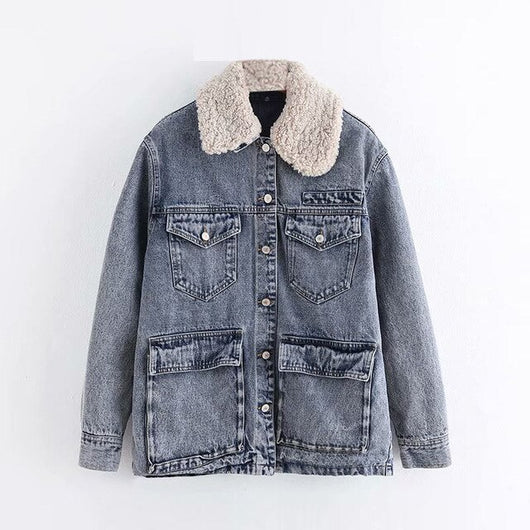 Women Autumn Winter Fashion Denim Jacket Coat 2019 Loose Pockets Long Sleeve Turn Down Collar Coat Cotton Padded Lining Jacket