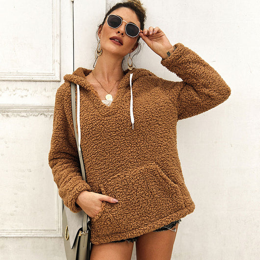 Fleece Hooded Sweatshirt Women 2019 Autumn V Neck Long Sleeve Casual Hoodies Solid Loose Teddy Pullover With Pockets Sudaderas