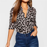 Sexy Long Sleeve Autumn Leopard Leisure Blouse Turn Down Collar