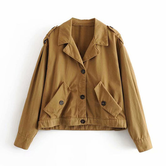 Vintage Solid Women Jacket Winter Single Breasted Loose Coat Fashion Turn Down Collar Lady Outerwear Jacket New Chic Cotton Top