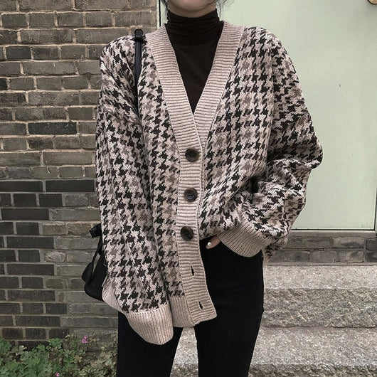 Vintage Houndstooth Knitted Cardigan Women 2019 Single Breasted Loose Winter Sweater Coat Casual Batwing Long Sleeve Cardigan