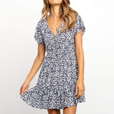 Casual Beach Dresses For Women 2019 Sexy Deep V Neck Floral Print Ruffle Summer Dress Boho Short Sleeve A Line Party Mini Dress