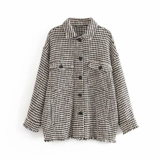 Women Fashion Plaid Jacket Batwing Long Sleeve Elegant Tweed Coat Female Pockets Turn Down Collar Ladies Tops Outerwear Sprin