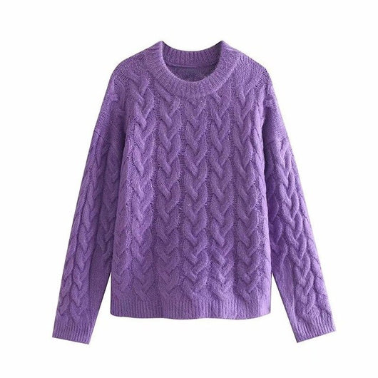 Winter Warm Women Knitted Sweater Vintage Solid Pullover Loose Ladies Long Sleeve Sweater Outwear Female Jumpers Twisted Pull