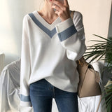 V neck Women Sweater Casual Autumn Winter Long Sleeve Patchwork Knitted Pullover Minimalist Clothing Korean Style Office Jumper