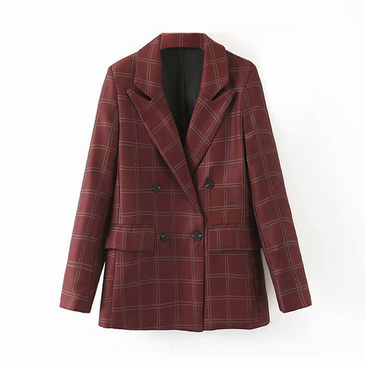 Vintage Double Breasted Blazer Women Plaid Coat Winter Warm Office Ladies Chi Suit Coats Outwear Long Sleeve Female Clothes