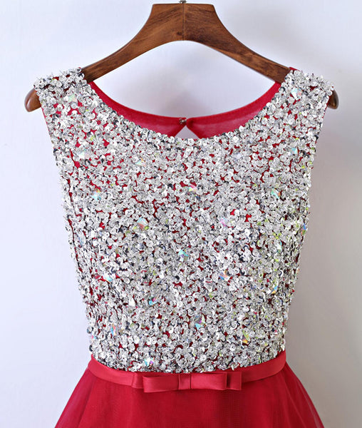Most Popular Red Sequins Bling Elegant Freshman Homecoming prom dress,220004