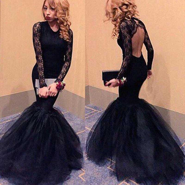 Long sleeve Black Mermaid Evening Prom Dresses, 2017 Long Backless Lace Prom Dress, Custom Long Prom Dress, Cheap Party Prom Dress, Formal Prom Dress, 17038