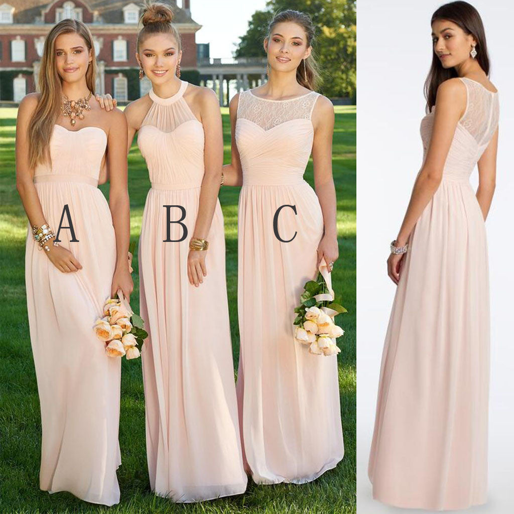 Mismatched Different Styles Chiffon Blush Pink Modern Formal Floor-Length Cheap Bridesmaid Dresses, WG103