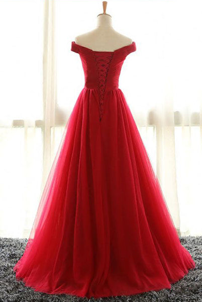 Long Prom Dresses, Sexy Prom Dresses, Off Shoulder Party Prom Dresses, Tulle Red Prom Dresses, Popular Prom Dresses,Prom Dresses Online, LB0106