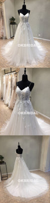 Charming Spaghetti Straps Tulle Wedding Dresses, A-Line Backless Applique Wedding Dresses, KX1087