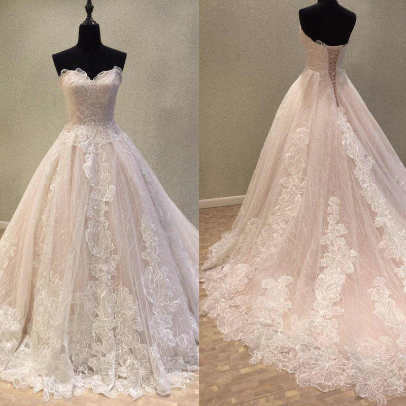 Charming Unique Lace Wedding Dresses, A-Line Sweet Heart Backless Wedding Dresses, KX1089
