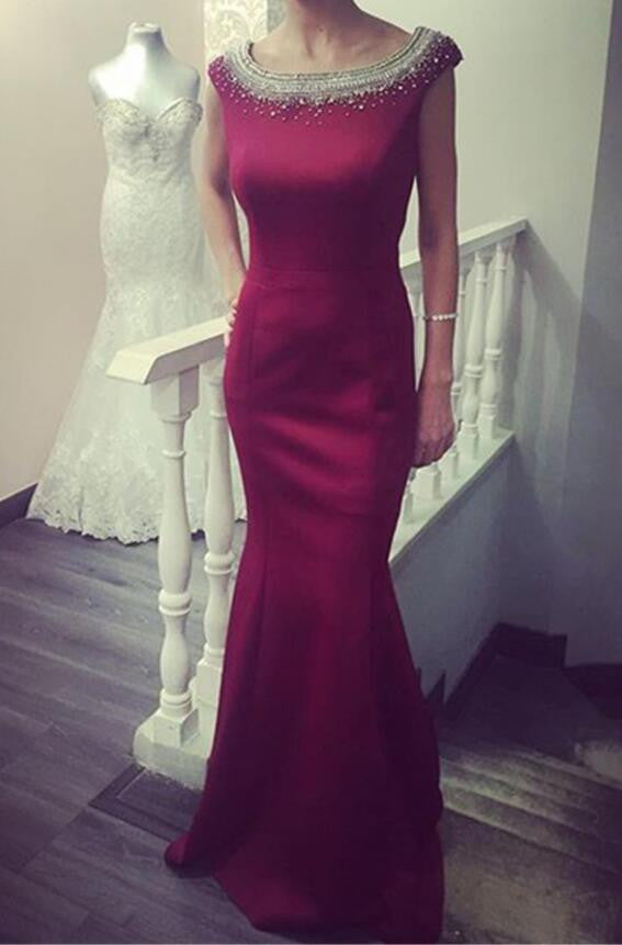 Red Round Neckline Mermaid Evening Prom Dresses, 2017 Beaded Party Prom Dress, Custom Long Prom Dresses, Cheap Formal Prom Dresses, 17041