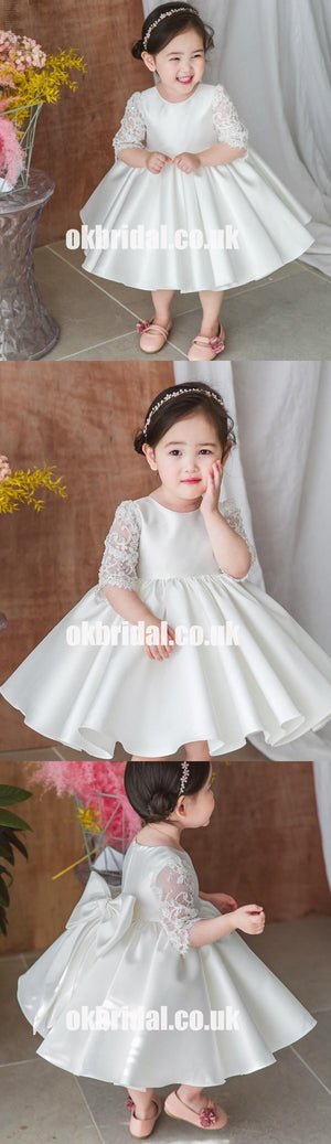 Half Sleeve Satin Flower Girl Dresses with Bow-Knot, Lace Popular Little Girl Dresses, KX1173