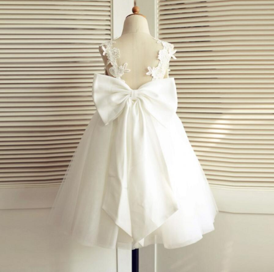 V-Neck Tulle Lace Bowknot Sash Backless Flower Girl Dresses, Lovely Tutu Dresses, FGS012