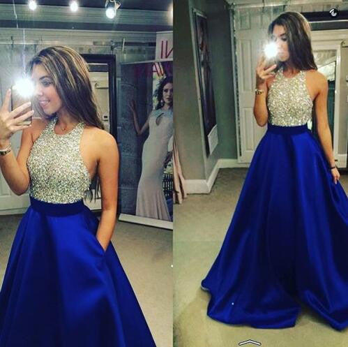 Halter Backless Evening Prom Dresses, Custom Evening Prom Dresses, 17012