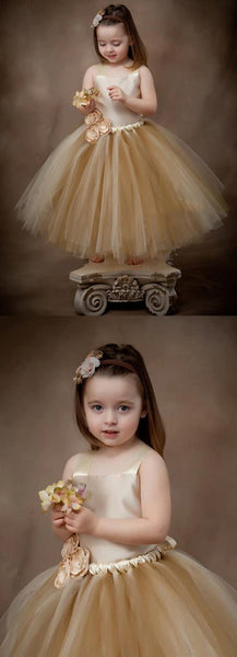 Lovely Satin Top Flower Girl Dresses, Cute Tulle Tutu Dresses for wedding,  FG024