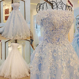 Popular Off the Shoulder Lace Applique Sequin Shining Lace up Back Wedding Dresses with Long Train,220012