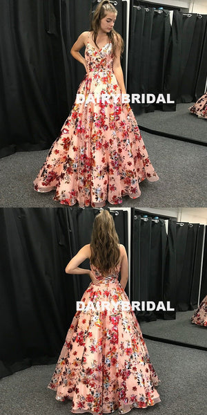 Spaghetti Straps Printed Flowers Chiffon Backless A-Line Prom Dress, FC1255