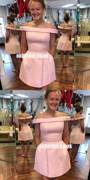 Cute Pink Off Shoulder Open-Back Lace A-Line Knee-Length Homecoming Dresses, KX1285