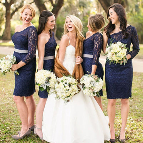 Elegant One Shoulder Long Sleeve Lace Navy Blue Knee Length Short Cheap Bridesmaid Dresses, WG128