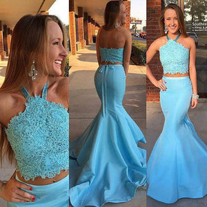 Blue Two Pieces Mermaid Evening Prom Dresses, Sexy Halter Long Party Prom Dress, Custom Long Prom Dresses, Cheap Formal Prom Dresses, 17049