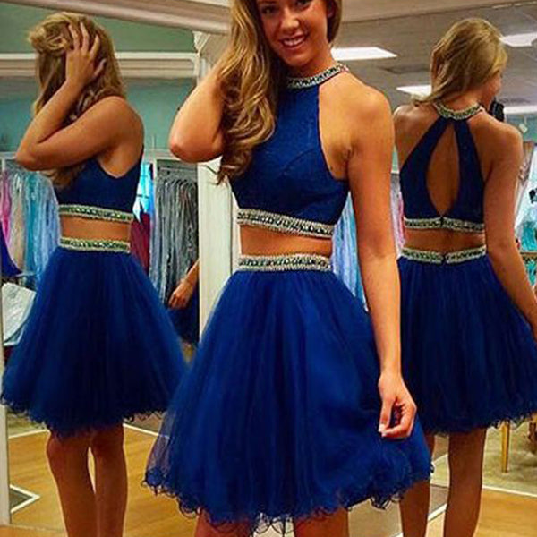 2016 royal blue two pieces Crop Tops off shoulder sexy homecoming prom dress,BD00132