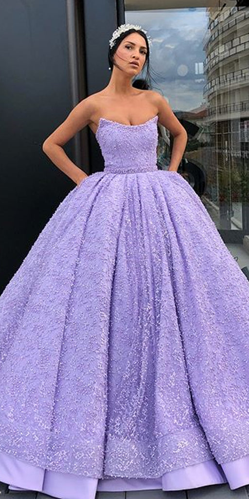A-Line Lace Backless Beaded Satin Sleeveless Long Prom Dresses, FC1349