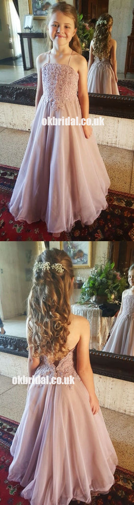 Spaghetti Straps Lace Top Chiffon Popular A-Line Flower Girl Dresses, Cheap Little Girl Dresses, KX1388